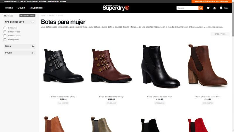 botas media caña superdry