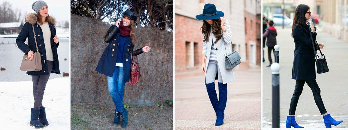 combinar botas azules mujer