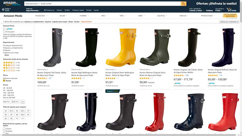 botas hunter amazon