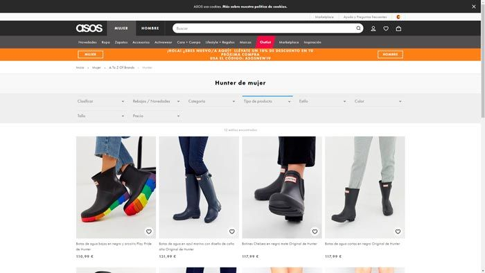 botas hunter asos