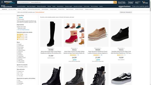 botas plataforma amazon